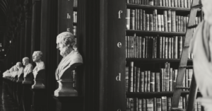 marble busts in an old library