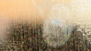 image of a finger print on a window